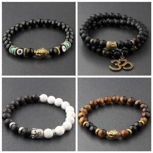 Fashion-Women-8MM-White-Turquoise-Lava-Beads-Buddha-Head-Men-Charm-Bracelets