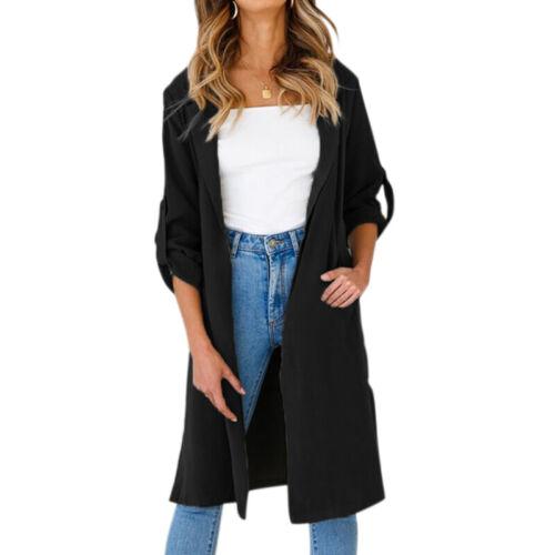 UK Women Long Sleeve Casual Trench Cardigan Ladies Coat Jacket Shawl Jumper Tops