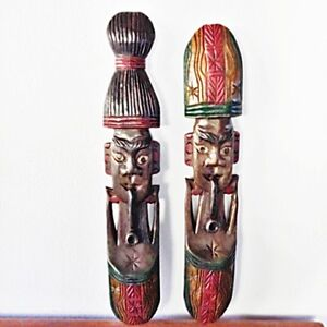 Men-amp-Women-Hand-Carved-African-Mask-Face-Wooden-Tribal-Vintage-Wall-Art-Painted