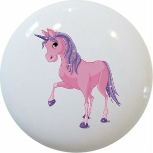 UNICORN-Pink-Purple-Ceramic-CABINET-DRAWER-Pull-KNOB
