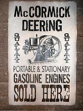 """NOVELTY POSTER HIT /& MISS GAS ENGINE McCORMICK-DEERING SOLD HERE 18/""""X30/"""" 140"""