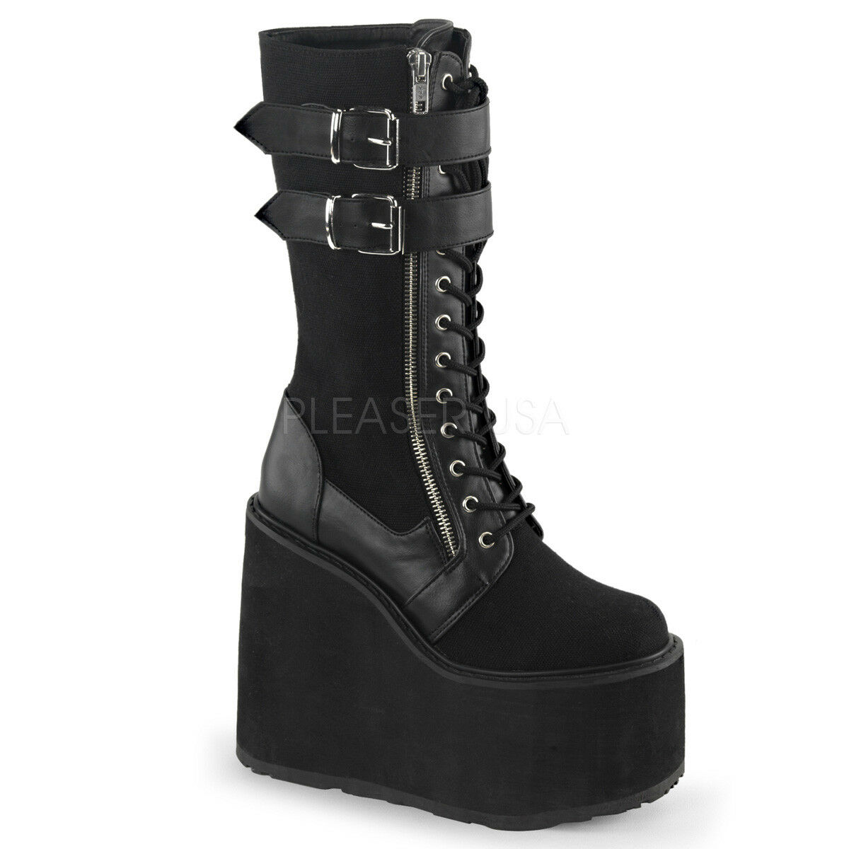 Demonia SWING-221 Black Platform Lace-Up Knee Boot Exposed Zipper Buckle Strap