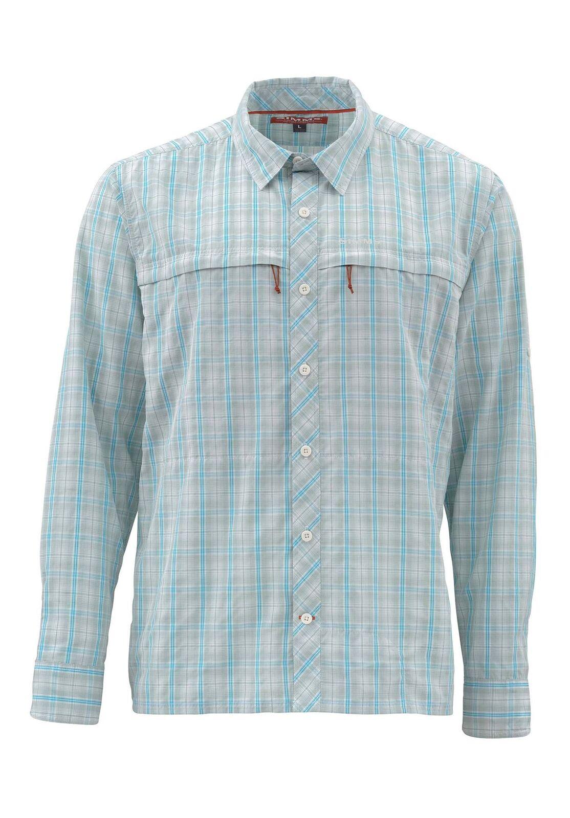 Simms Stone Cold Long Sleeve  Shirt Celadon Plaid - Size Medium -CLOSEOUT  cheap online