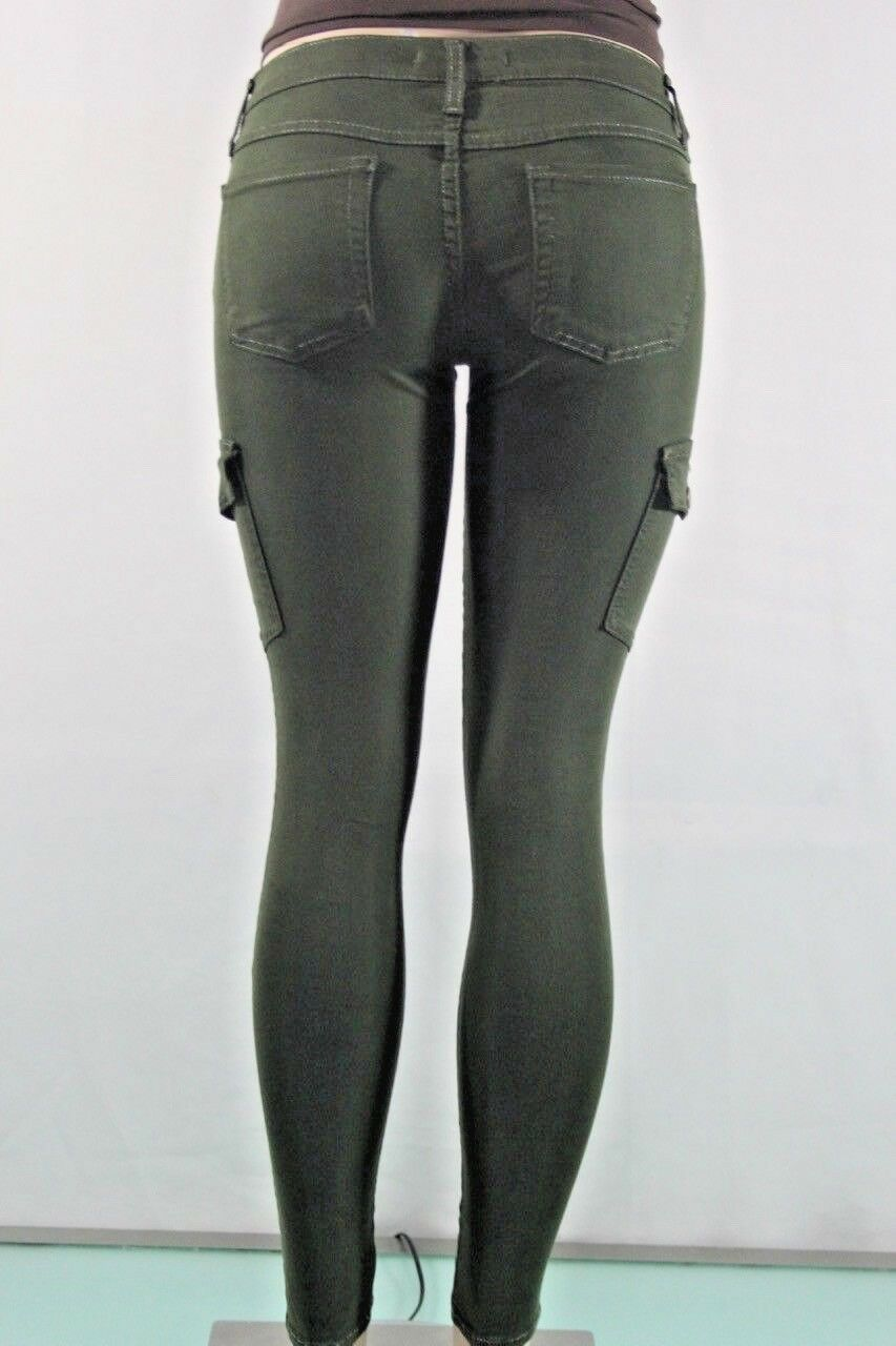 FLYING MONKEY NEW WOMEN'S SKINNY CARGO STRETCH JEANS SZ 11 COLOR GREEN USA