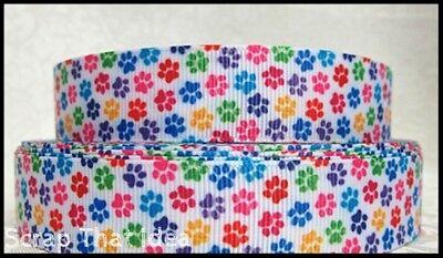 "Mini Paw Prints  RIBBON.  1"" Grosgrain.  Scrapbooking / Craft.  Puppy, Pet, Dog"
