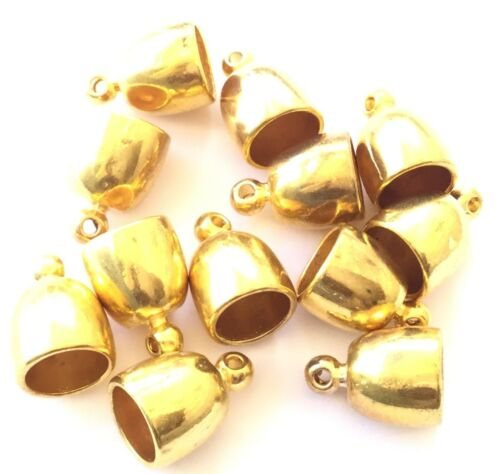 12PCS Gold Plated Rounded Fancy Bead Glue in end Cap Jewelry Supplies