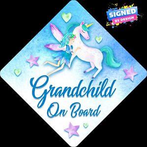 Non-Personalised-Child-Baby-On-Board-Car-Sign-Fairy-amp-Unicorn-Grandchild