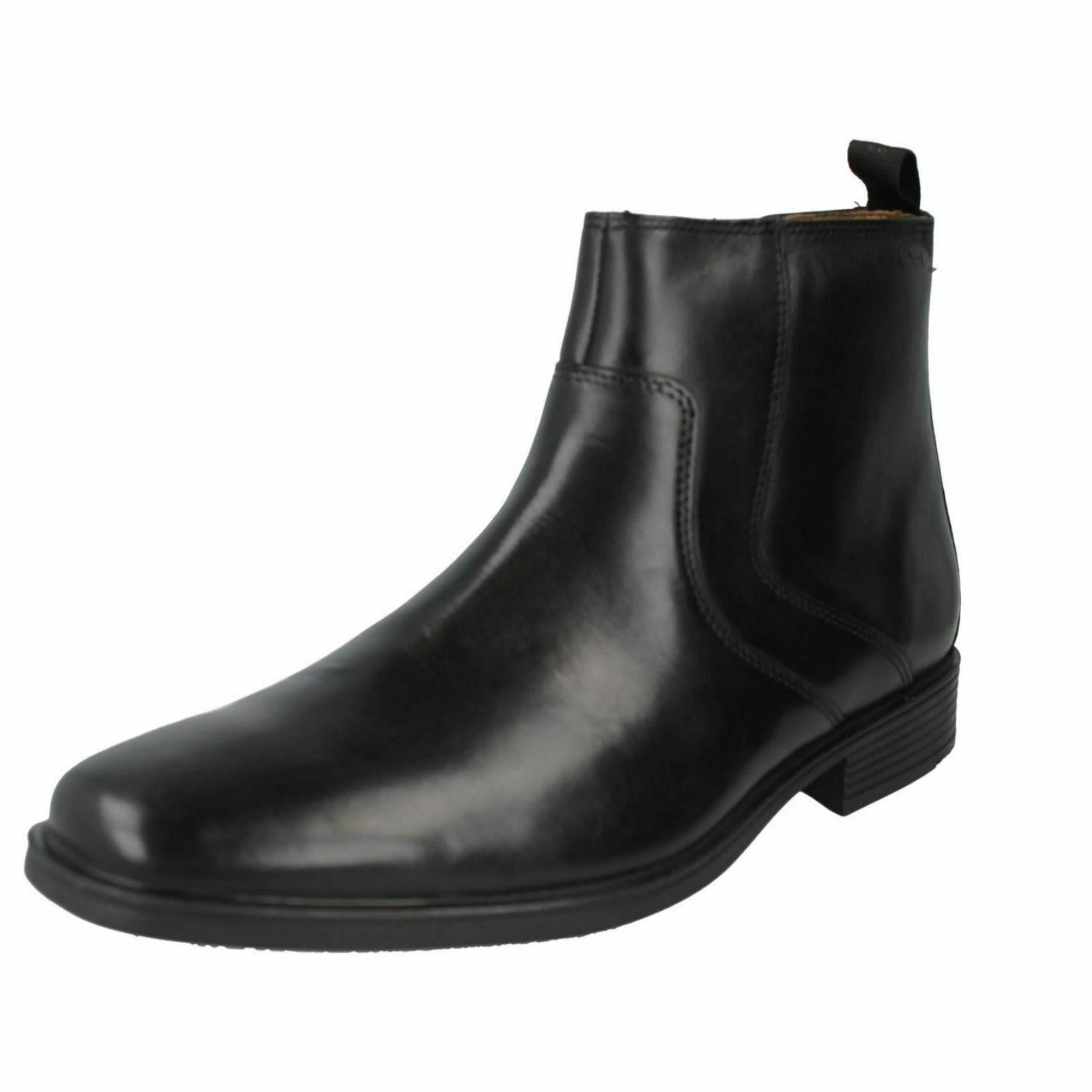 Clarks 'Tilden Zip' Men's Smart Black Leather Ankle Boots G Fitting