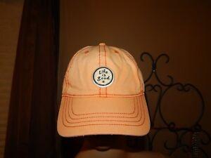 Life Is Good Osfa Peach Faded Orange Cotton Baseball Hat