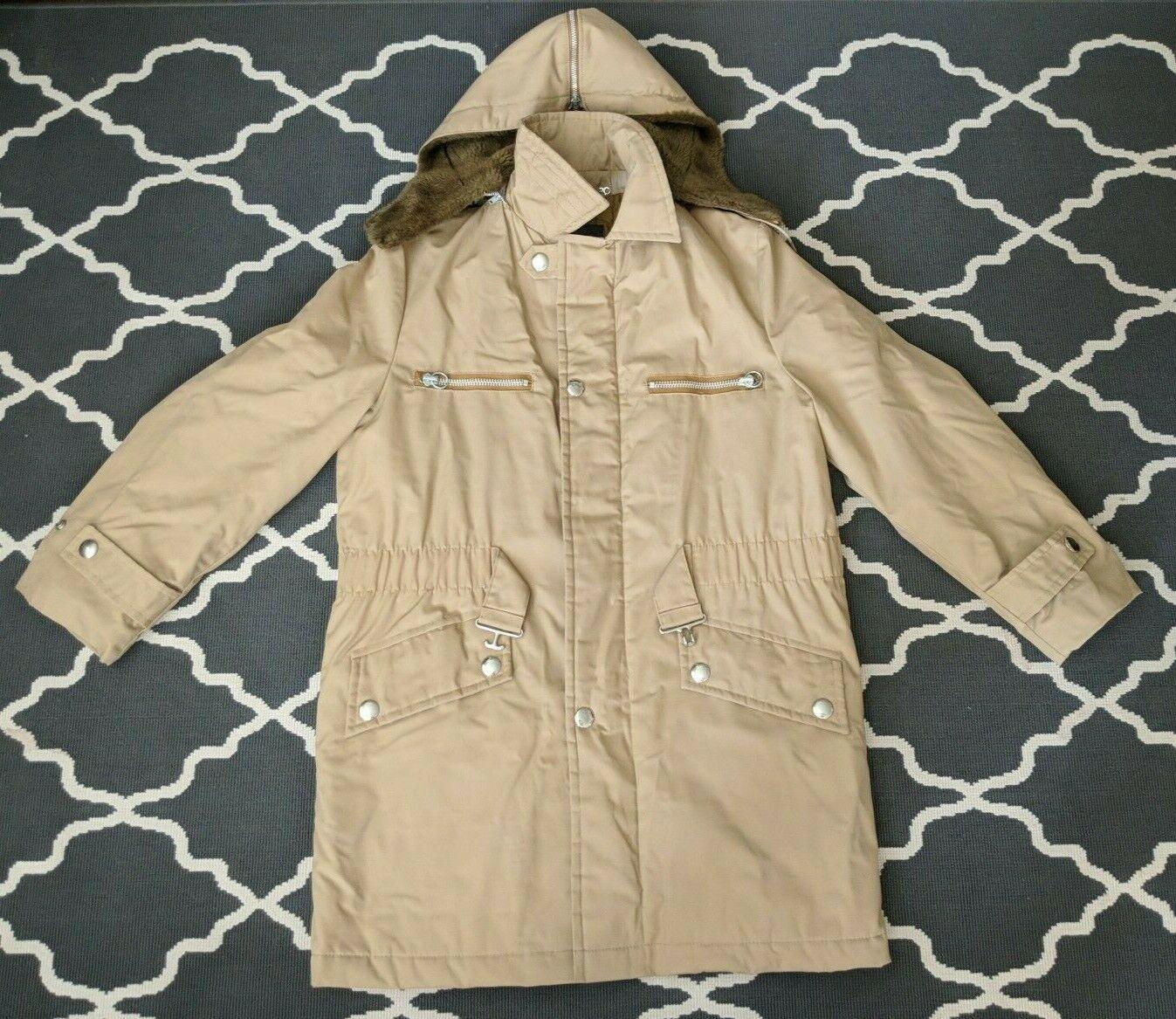 VTG Men's GRODINS California Trench Coat Jacket w/faux fur hood Sz L, 42