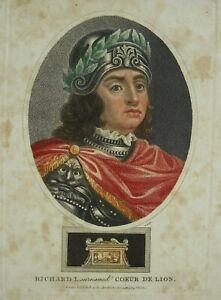 Rare-Original-Engraving-XIX-Colours-Richard-I-Heart-Of-Lion-Chapman-England