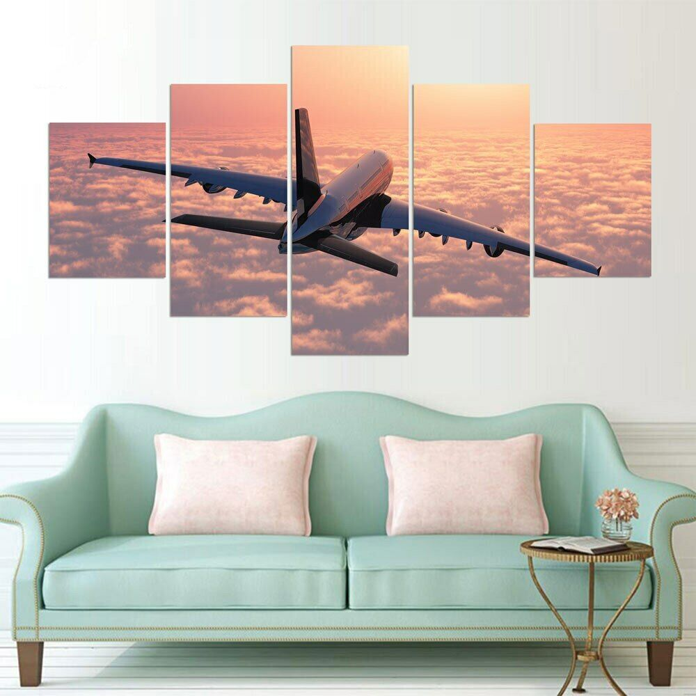 Airplane Flying over Clouds 5 Pcs Canvas Wand Poster Drucken Bild Home Decor