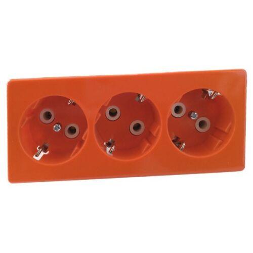 PEHA Standard Steckdose-SCHUKO 3-fach Unterflur-Einbau D 6313.33 UF Wi orange
