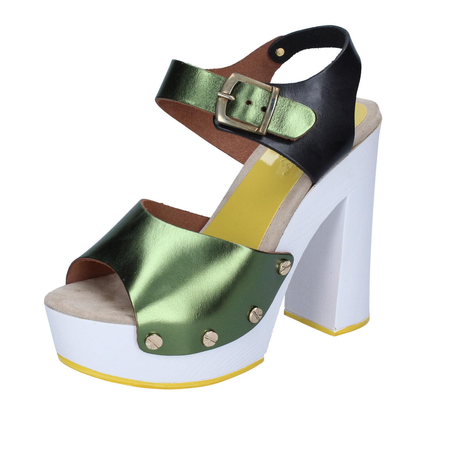 Para mujeres Zapatos Suky marca marca marca 5 (EU 35) Sandalias verde Negro Cuero BS18-35  buena reputación