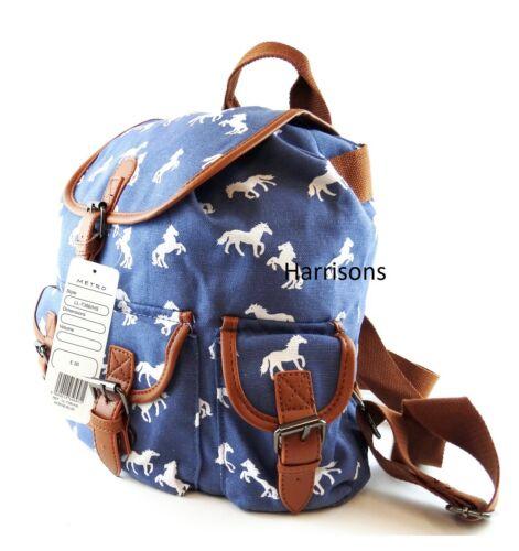 LADIES HORSE PRINT CANVAS BAG BACKPACK TOTE MESSENGER SCHOOL SPORTS TRAVEL M//L