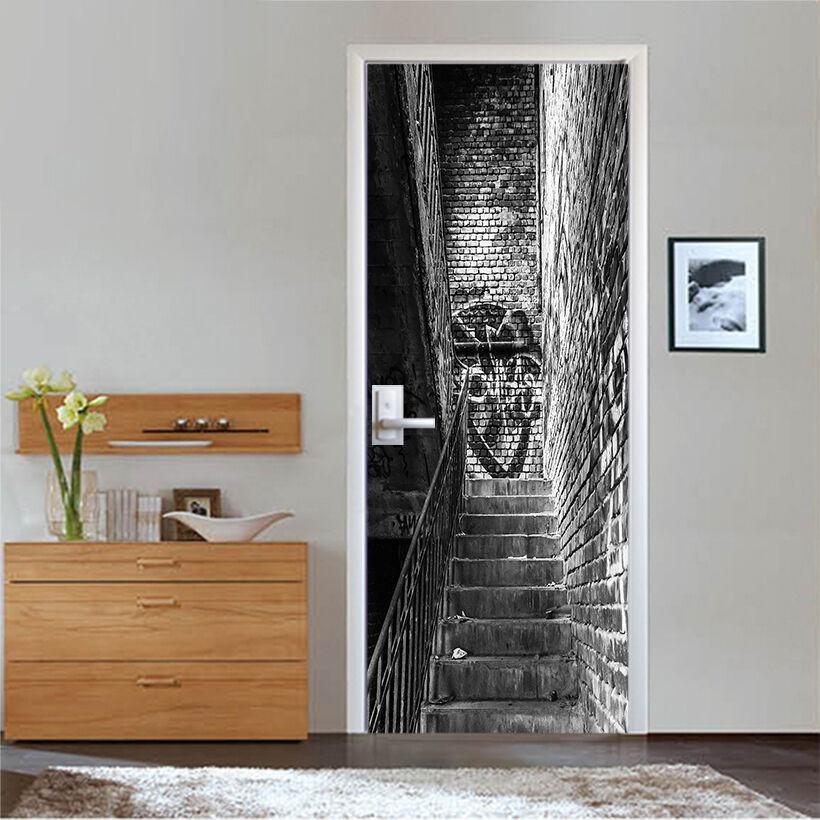 3D Steintreppen 57 Tür Mauer Wandgemälde Foto Wandaufkleber AJ WALL DE Lemon