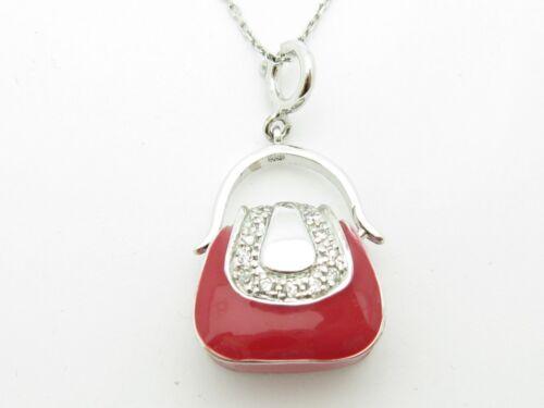 PLATINUM STERLING SILVER UNIQUE DIAMOND SET SAPPHIRE RED ENAMEL PURSE PENDANT