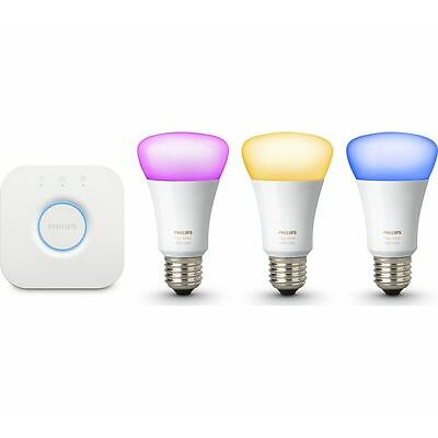 PHILIPS Hue Colour Wireless Bulbs Starter Kit E27 iOS & &roid compatible