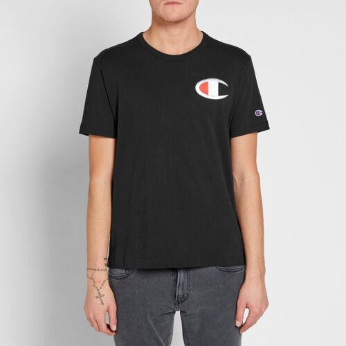 Champion Heritage Big C Patch Crewneck Tee Men New T-Shirt Black Red 211983-NBK