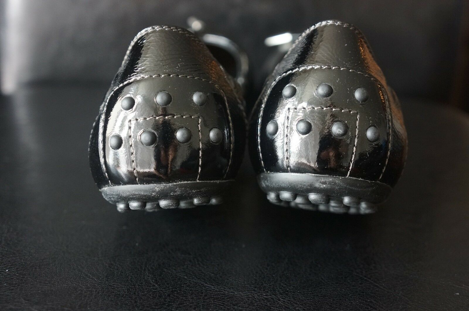 NEW Tod's Black Black Black Patent Leather Ballerina Flats Sz 39.5  US 9.5 642446