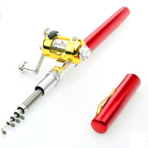Mini Pocket Telescopic Fishing Pole Pen Gefaltete Angelrute mit Rollenra  CL