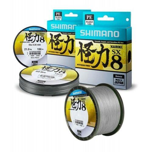 Shimano Kairiki SX 8 PE Steel Gray 150m Fishin Braided Line Various Diameter