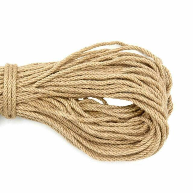 KINGLAKE 100/% Natural Strong Jute Rope 65 Feet 5mm 3 Ply Hemp Rope Cord For A...