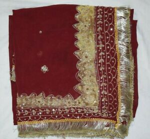 Indian-Ethnic-Peasant-Dupatta-Long-Stole-Pure-Chiffon-Silk-RedHand-Beaded-Veil