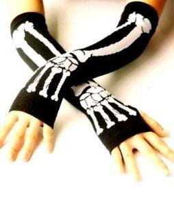 Long-Skull-Black-White-Skeleton-Elastic-Fingerless-Arm-Warmers-Elbow-Gloves