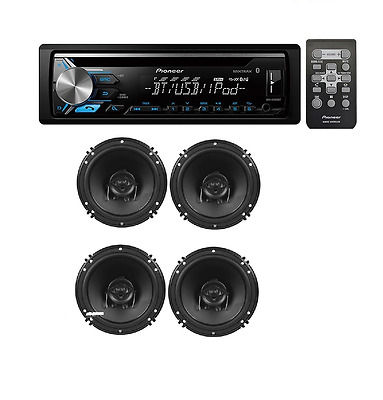 Pioneer DEH-X3900BT CD Music Player Receiver W// 2 PAIR OF XED62 6.5 Car Speakers
