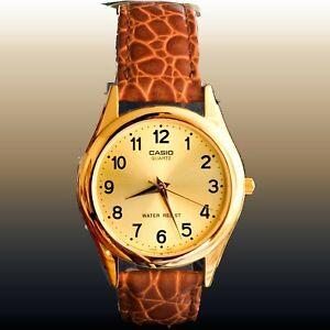 Casio-MTP-1093Q-9B-Mens-Analog-Watch-Gold-Tone-Quartz-Brown-Leather-Band-New
