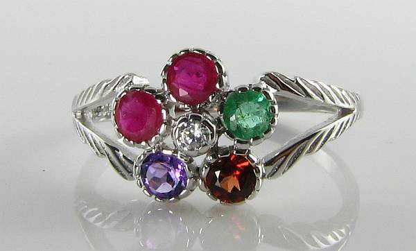 CRISP 9CT 9K WHITE gold    REGARD   ART DECO INS CLUSTER RING FREE SIZE