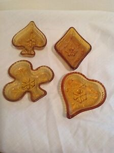 Tiara-Indiana-Glass-Amber-Sandwich-Candy-Or-Nut-Trays-Bridge-Set-Complete