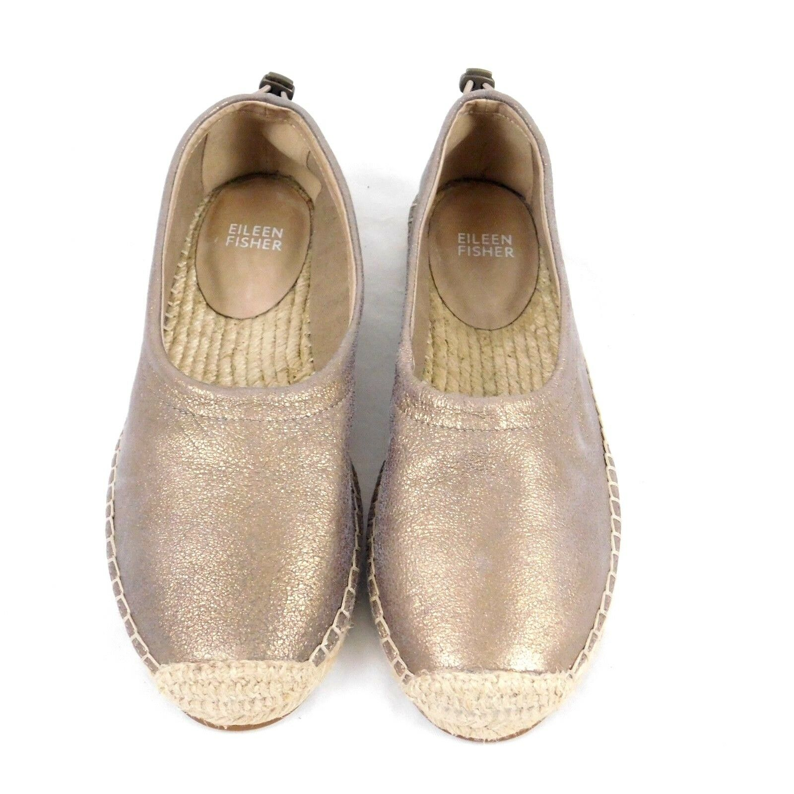 Eileen Fisher Bali Espadrille Slide On Platinum Metallic  Jute shoes Sz 6.5