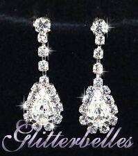 Bridal Bridesmaids Wedding Prom Silver Crystal CHARMAINE EARRINGS *LOWER PRICE*
