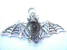 Solid silver Openwork Wings Black Onyx Flying Bat Pendant Whitby Goth Boxed