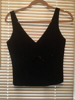 Bebe Gabrielle Top Halter High V-necklines Solid Black Evening Ocasion Size 4