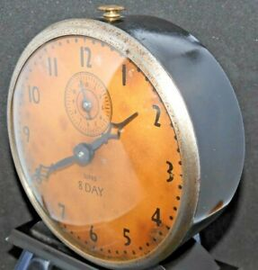 Rare-Antique-Ward-Alarm-Clock-by-Ingraham-8-Day-Mechanical-Works