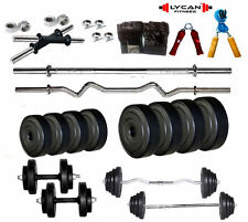 Lycan Gym 20Kg Weight+ 3Ft Curl + 3ft plain Rod+ Gloves+ Dumbbell+H. Grip