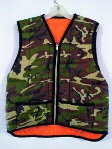 Vtg-Quilted-CAMO-Reversible-ORANGE-Hunting-Zip-up-VEST-Men-039-s-LARGE-SAF-T-BAK-USA