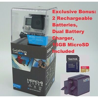GoPro Hero 4 Silver Digital Camera Camcorder 2 Batteries 16GB MicroSD Hero4 NIB