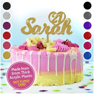 Image Is Loading PERSONALISED Birthday Cake Topper ANY AGE Celebration Acrylic