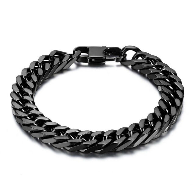 8 10mm Durable Black Stainless Steel Heavy Wide Mens Curb Link Chain Bracelet