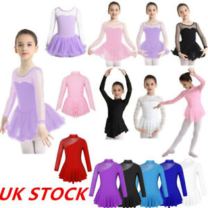 UK-Girls-Ballet-Dance-Dress-Leotard-Kids-Gym-Skating-Bodysuit-Ballerina-Costume