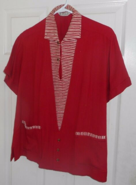 50's-60's Llords Ltd. RED with White Stripes 2 Button Pullover + Metal Buttons M