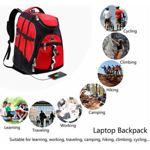 15.6' Business Backpack For Women Men Travel W/USB Charging Port College Red Bag