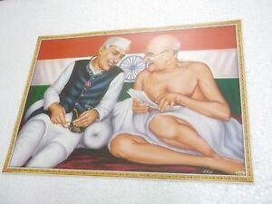 PANDIT-JAWAHARLAL-NEHRU-MAHATMA-GANDHI-Poster-INDIA-famous-person-16-034-11-034