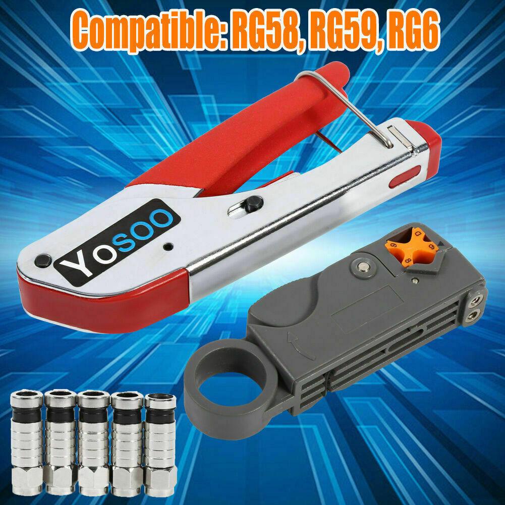 Free 20Compression Connector F RCA BNC Fitting Coaxial Crimping Tools Cable Coax