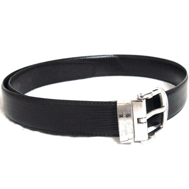 Auth VTG LOUIS VUITTON Ceinture Classic Black Epi Leather Belt 83cm 32.7 da3e00e8ecb