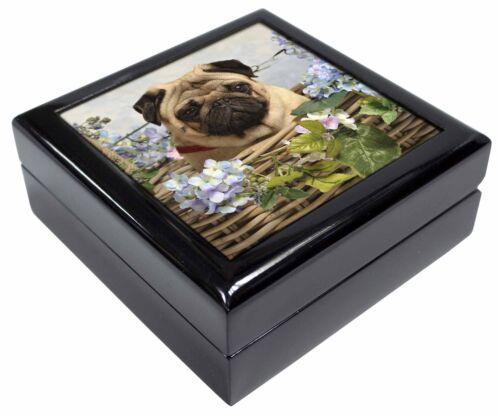 AD-P96JB Fawn Pug Dog in a Basket Keepsake//Jewellery Box Christmas Gift